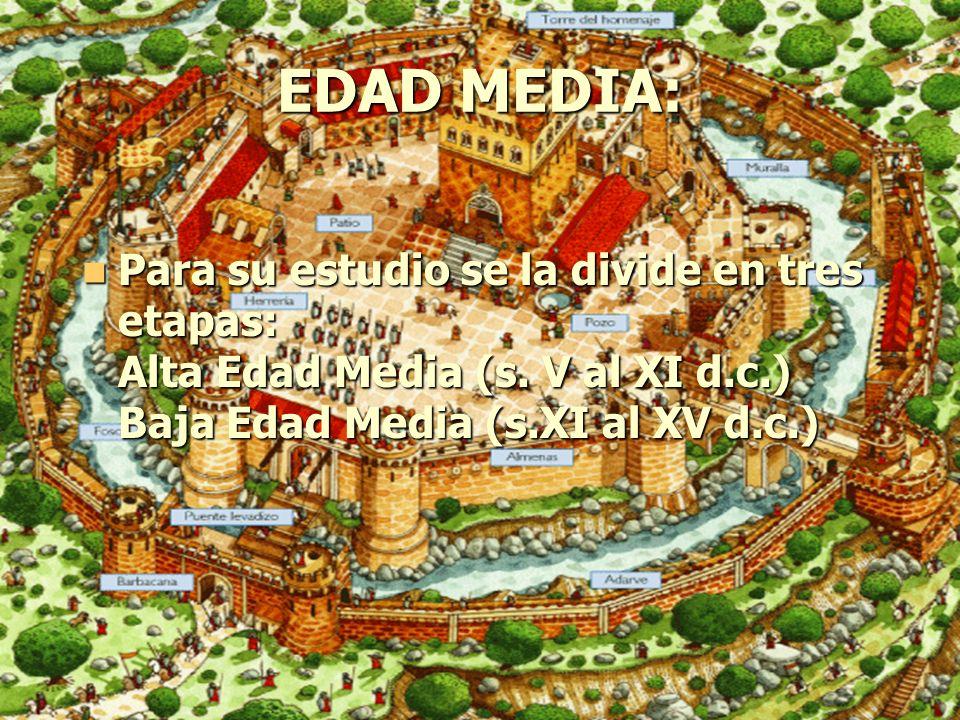 EDAD MEDIA: Para su estudio se la divide en tres etapas: Alta Edad Media (s. V al XI d.c.) Baja Edad Media (s.XI al XV d.c.) Para su estudio se la div