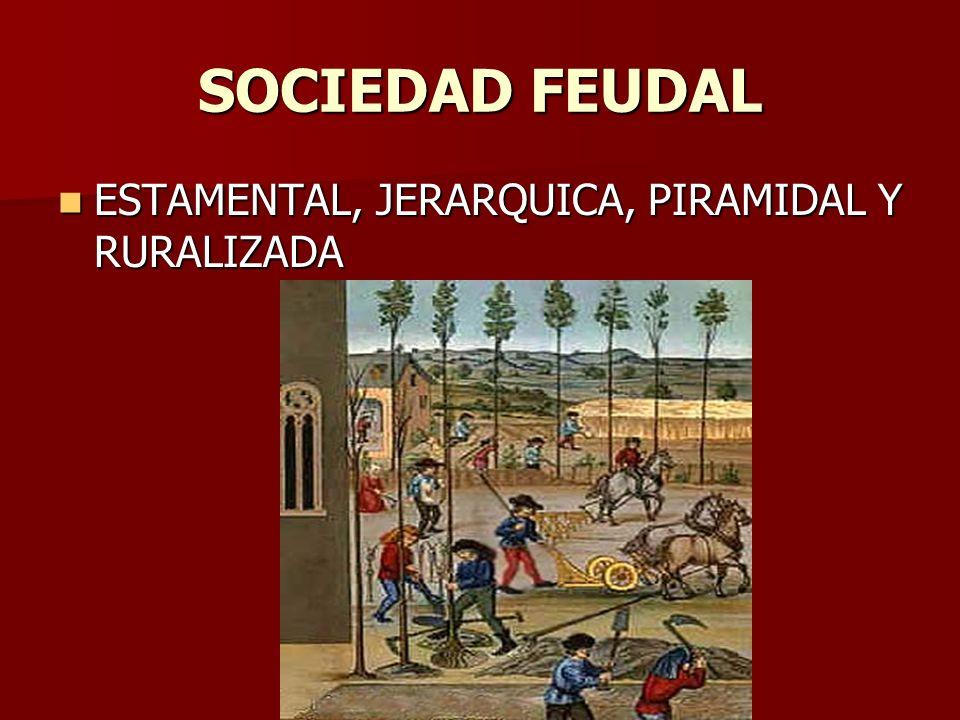 SOCIEDAD FEUDAL ESTAMENTAL, JERARQUICA, PIRAMIDAL Y RURALIZADA ESTAMENTAL, JERARQUICA, PIRAMIDAL Y RURALIZADA