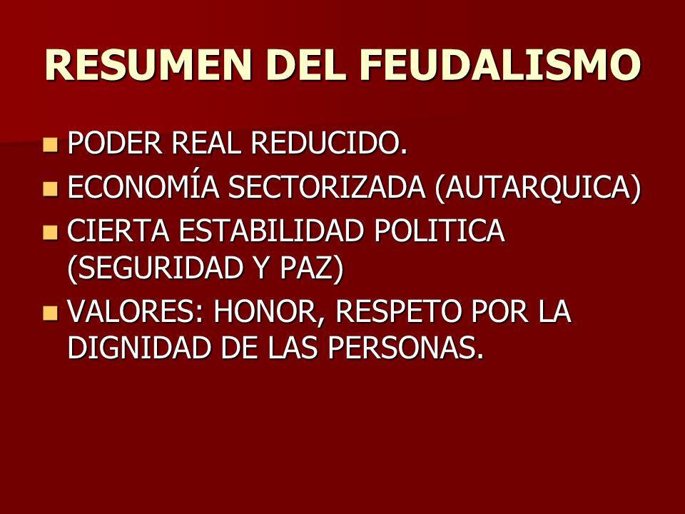 RESUMEN DEL FEUDALISMO PODER REAL REDUCIDO. PODER REAL REDUCIDO. ECONOMÍA SECTORIZADA (AUTARQUICA) ECONOMÍA SECTORIZADA (AUTARQUICA) CIERTA ESTABILIDA
