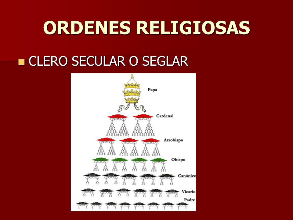 ORDENES RELIGIOSAS CLERO SECULAR O SEGLAR CLERO SECULAR O SEGLAR