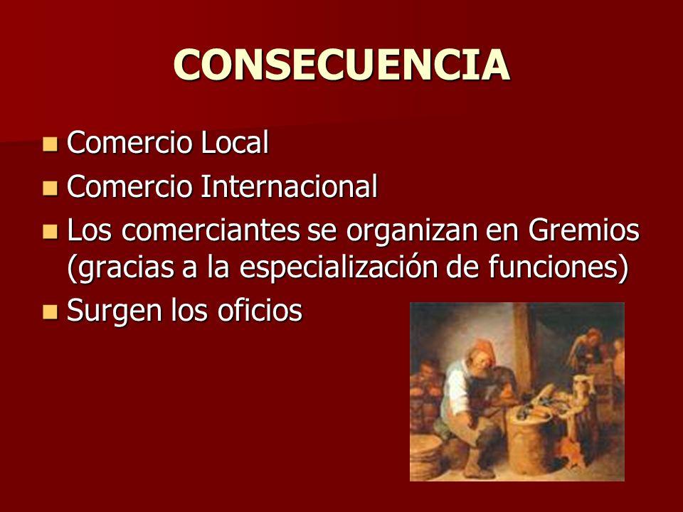 CONSECUENCIA Comercio Local Comercio Local Comercio Internacional Comercio Internacional Los comerciantes se organizan en Gremios (gracias a la especi