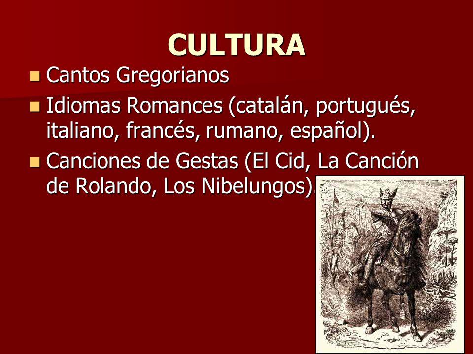 CULTURA Cantos Gregorianos Cantos Gregorianos Idiomas Romances (catalán, portugués, italiano, francés, rumano, español). Idiomas Romances (catalán, po