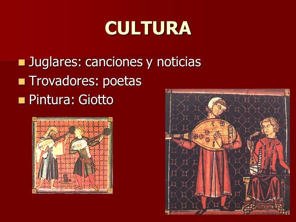 CULTURA Juglares: canciones y noticias Juglares: canciones y noticias Trovadores: poetas Trovadores: poetas Pintura: Giotto Pintura: Giotto