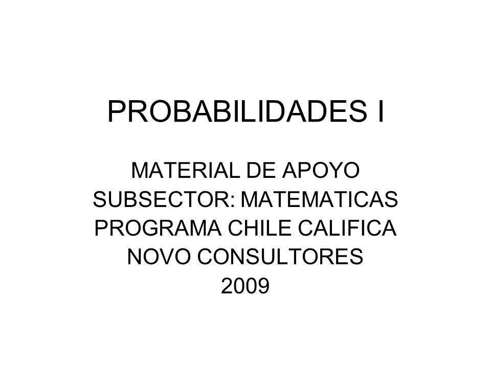 PROBABILIDADES I MATERIAL DE APOYO SUBSECTOR: MATEMATICAS PROGRAMA CHILE CALIFICA NOVO CONSULTORES 2009