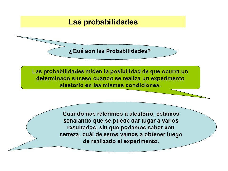 Las probabilidades ¿Qué son las Probabilidades? Las probabilidades miden la posibilidad de que ocurra un determinado suceso cuando se realiza un exper