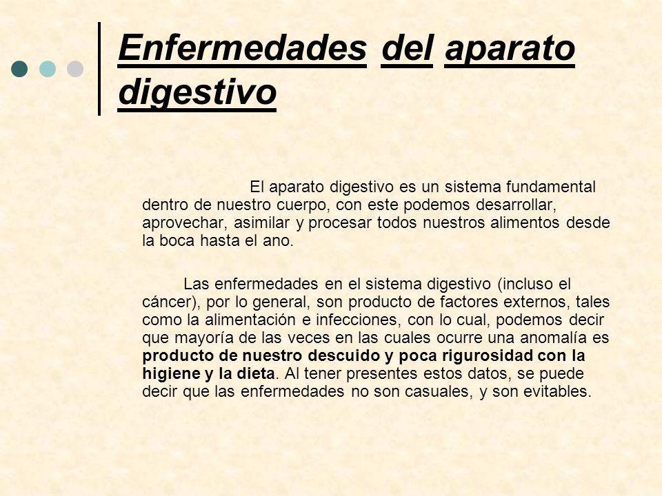 Enfermedades del aparato digestivo El aparato digestivo es un sistema fundamental dentro de nuestro cuerpo, con este podemos desarrollar, aprovechar,