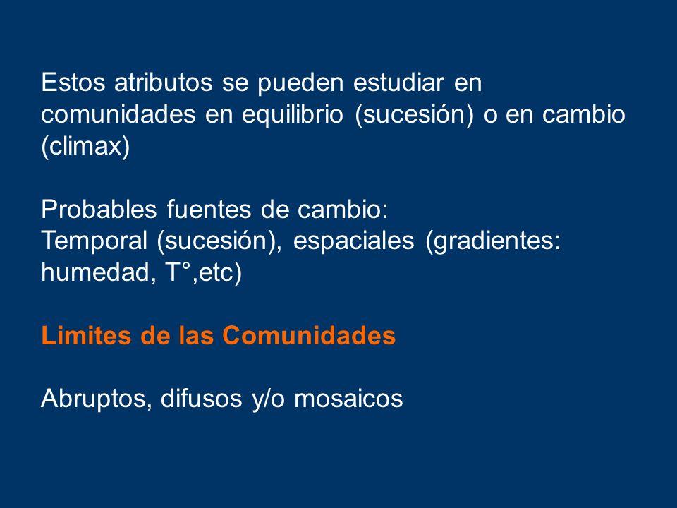 Estos atributos se pueden estudiar en comunidades en equilibrio (sucesión) o en cambio (climax) Probables fuentes de cambio: Temporal (sucesión), espa