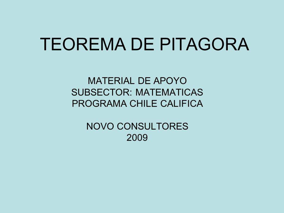 TEOREMA DE PITAGORA MATERIAL DE APOYO SUBSECTOR: MATEMATICAS PROGRAMA CHILE CALIFICA NOVO CONSULTORES 2009