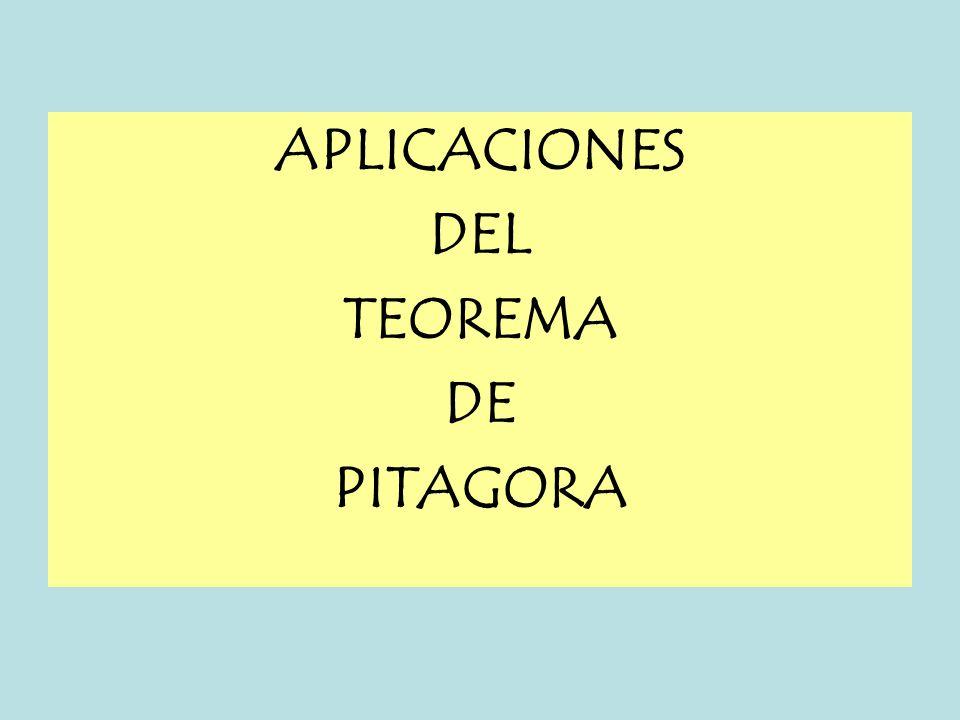 APLICACIONES DEL TEOREMA DE PITAGORA