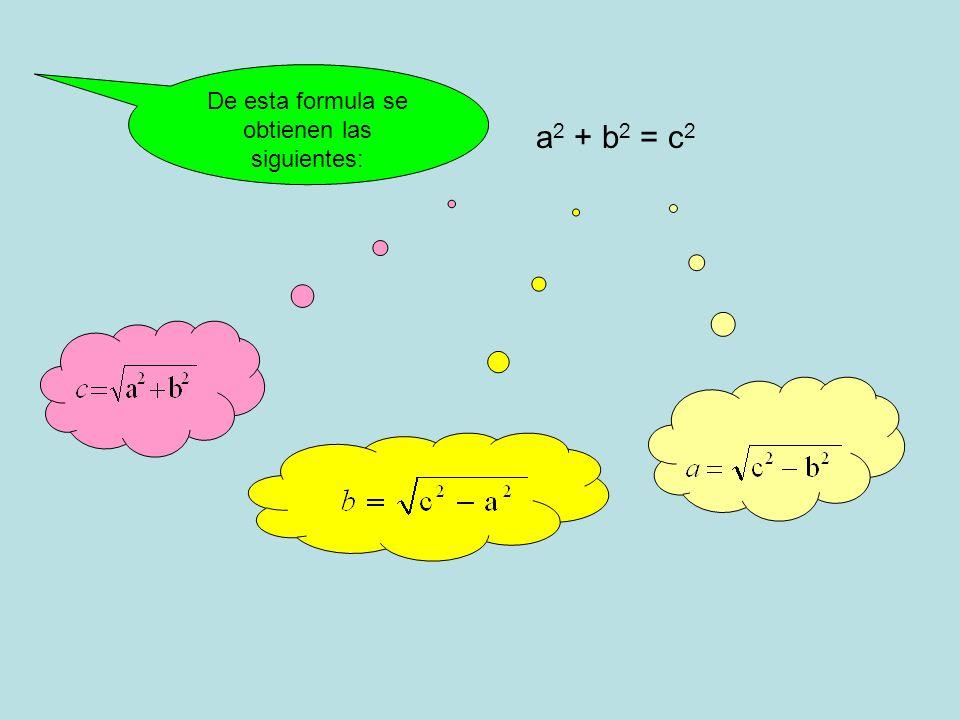 a 2 + b 2 = c 2 De esta formula se obtienen las siguientes: