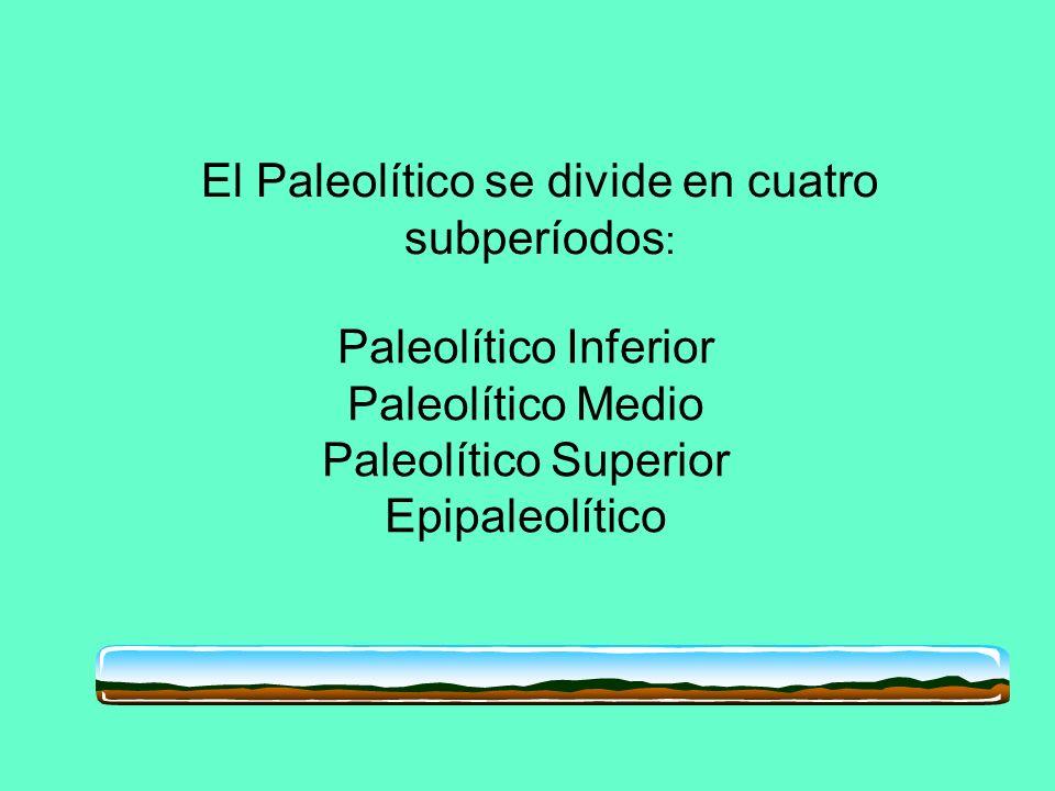 Paleolítico Inferior Paleolítico Medio Paleolítico Superior Epipaleolítico El Paleolítico se divide en cuatro subperíodos :