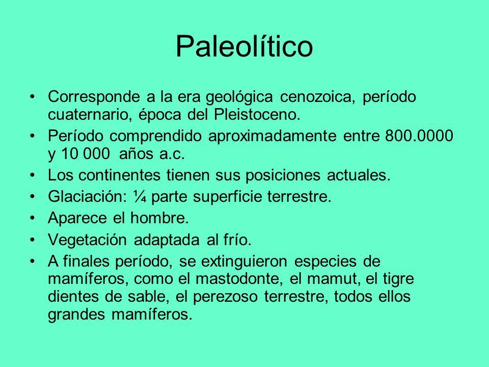 Paleolítico Corresponde a la era geológica cenozoica, período cuaternario, época del Pleistoceno. Período comprendido aproximadamente entre 800.0000 y
