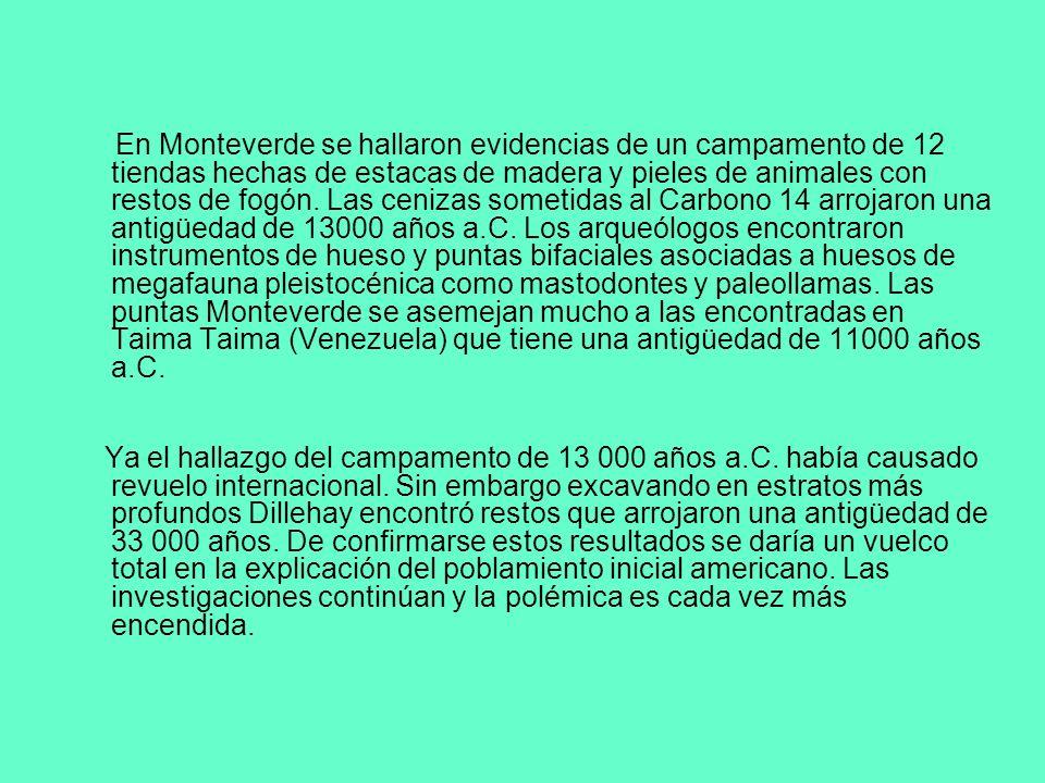 En Monteverde se hallaron evidencias de un campamento de 12 tiendas hechas de estacas de madera y pieles de animales con restos de fogón. Las cenizas