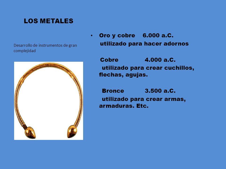 LOS METALES Oro y cobre 6.000 a.C.utilizado para hacer adornos Cobre 4.000 a.C.