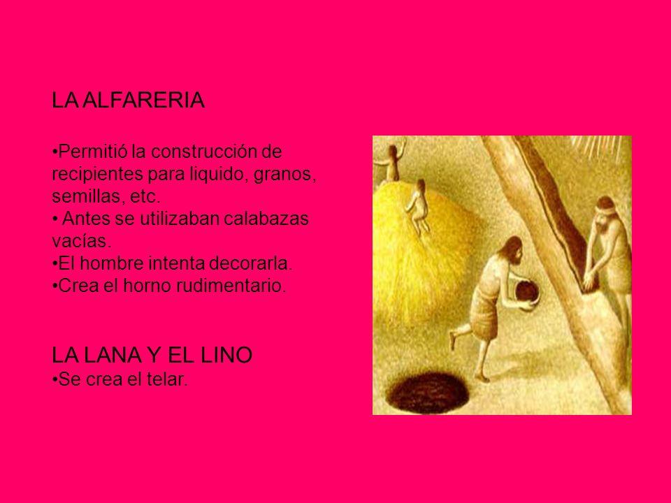 LA ALFARERIA Permitió la construcción de recipientes para liquido, granos, semillas, etc.