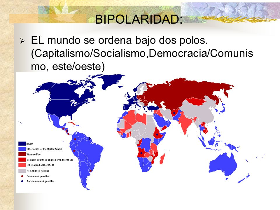 BIPOLARIDAD: EL mundo se ordena bajo dos polos. (Capitalismo/Socialismo,Democracia/Comunis mo, este/oeste)