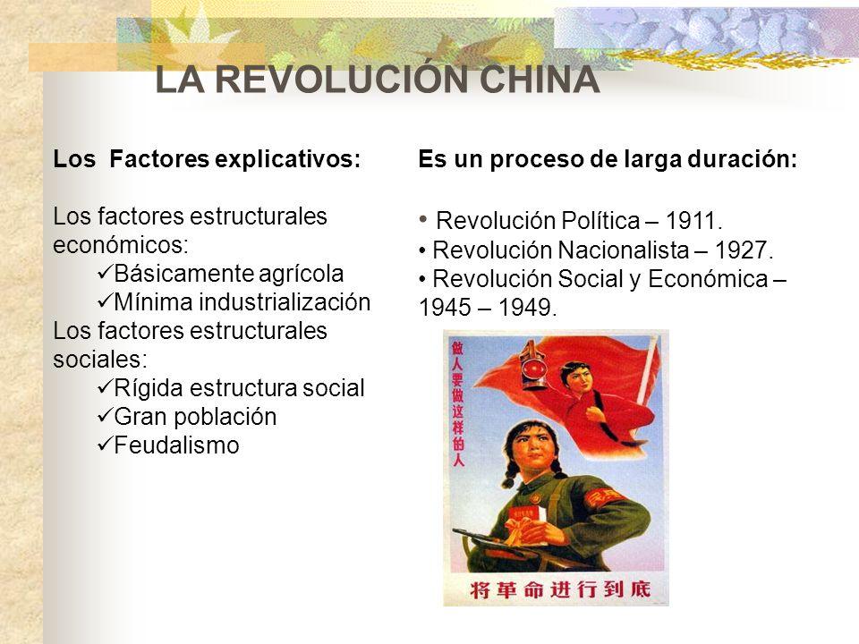 Los Factores explicativos: Los factores estructurales económicos: Básicamente agrícola Mínima industrialización Los factores estructurales sociales: R