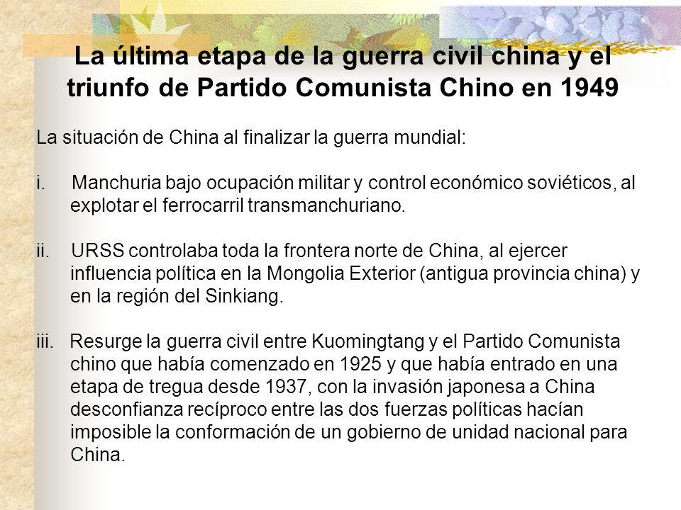 La última etapa de la guerra civil china y el triunfo de Partido Comunista Chino en 1949 La situación de China al finalizar la guerra mundial: i. Manc