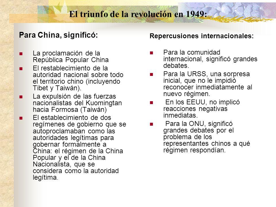 Para China, significó: La proclamación de la República Popular China El restablecimiento de la autoridad nacional sobre todo el territorio chino (incl