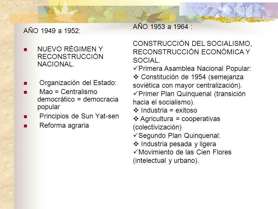 AÑO 1949 a 1952: NUEVO RÉGIMEN Y RECONSTRUCCIÓN NACIONAL. Organización del Estado: Mao = Centralismo democrático = democracia popular Principios de Su