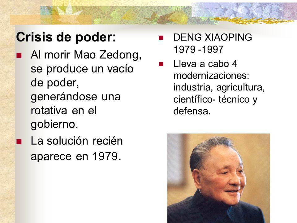 Crisis de poder: Al morir Mao Zedong, se produce un vacío de poder, generándose una rotativa en el gobierno. La solución recién aparece en 1979. DENG