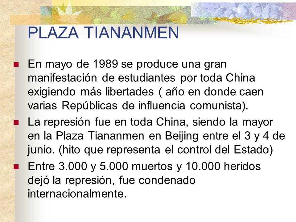 PLAZA TIANANMEN En mayo de 1989 se produce una gran manifestación de estudiantes por toda China exigiendo más libertades ( año en donde caen varias Re
