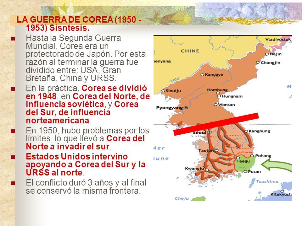 LA GUERRA DE COREA (1950 - 1953) Sisntesis. Hasta la Segunda Guerra Mundial, Corea era un protectorado de Japón. Por esta razón al terminar la guerra