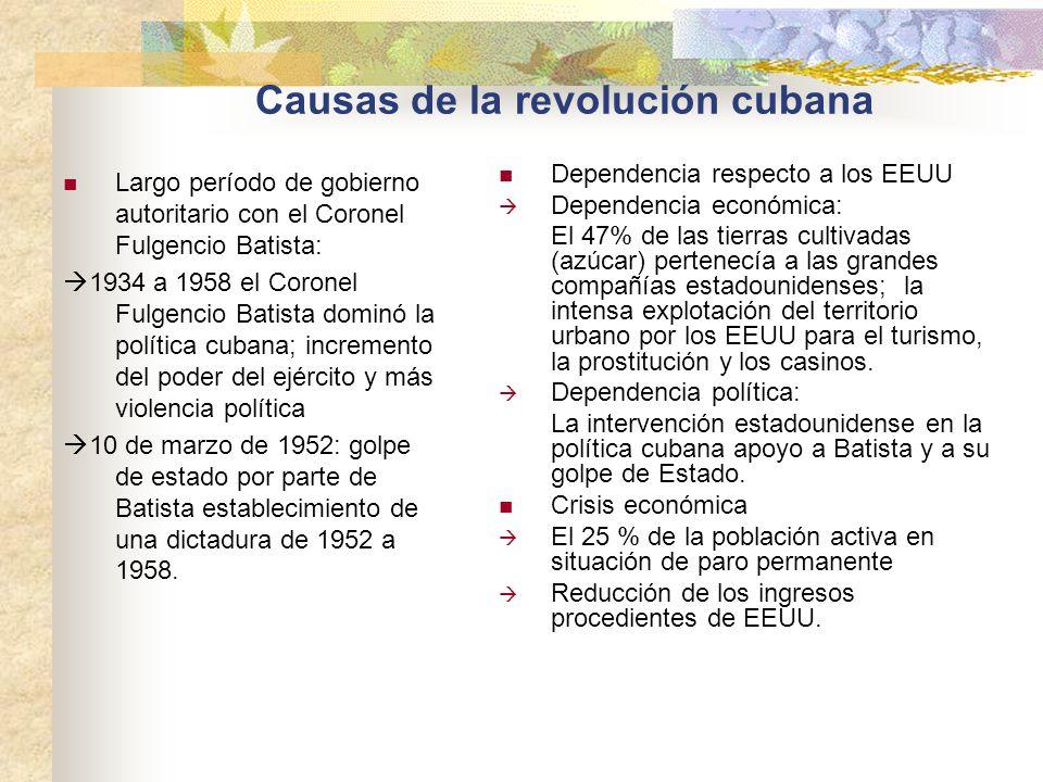 Causas de la revolución cubana Largo período de gobierno autoritario con el Coronel Fulgencio Batista: 1934 a 1958 el Coronel Fulgencio Batista dominó