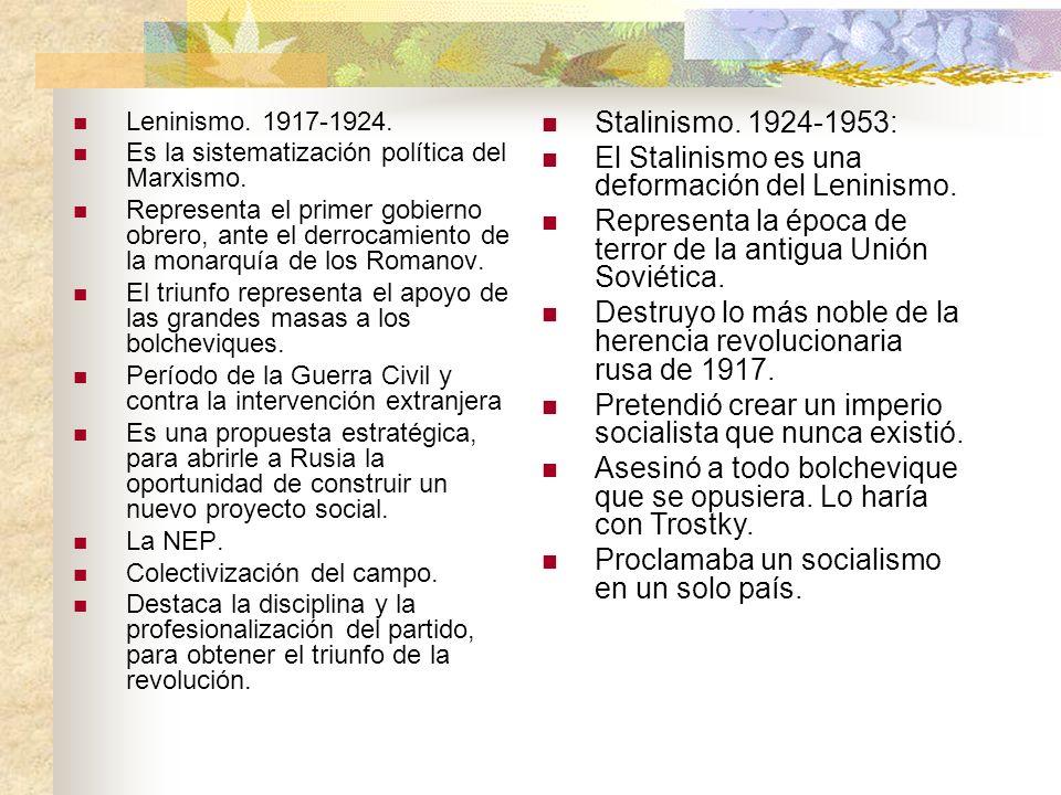Leninismo. 1917-1924. Es la sistematización política del Marxismo. Representa el primer gobierno obrero, ante el derrocamiento de la monarquía de los