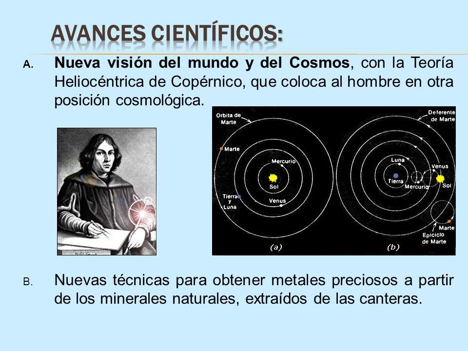 A. Nueva visión del mundo y del Cosmos, con la Teoría Heliocéntrica de Copérnico, que coloca al hombre en otra posición cosmológica. B. Nuevas técnica
