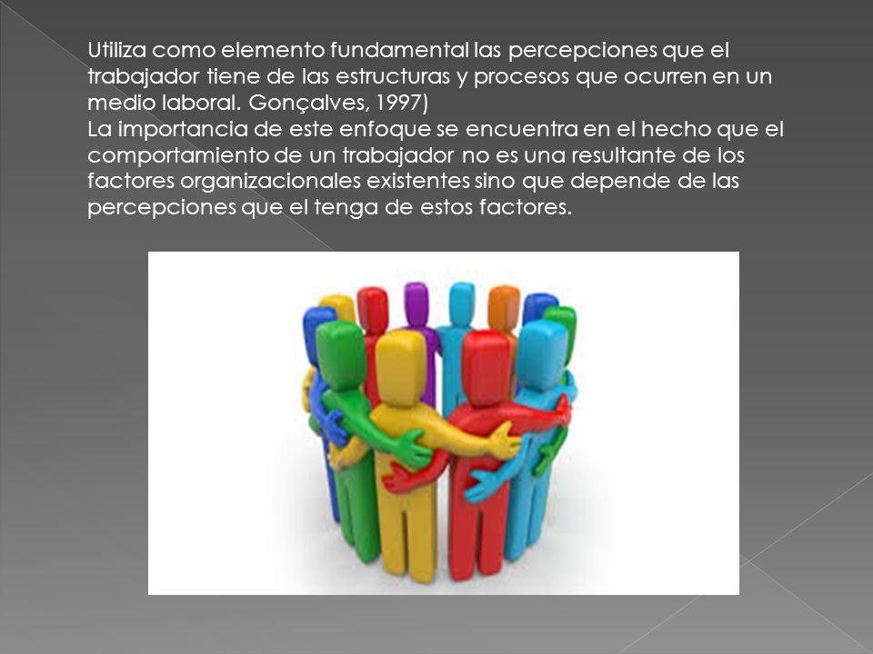 Utiliza como elemento fundamental las percepciones que el trabajador tiene de las estructuras y procesos que ocurren en un medio laboral. Gonçalves, 1
