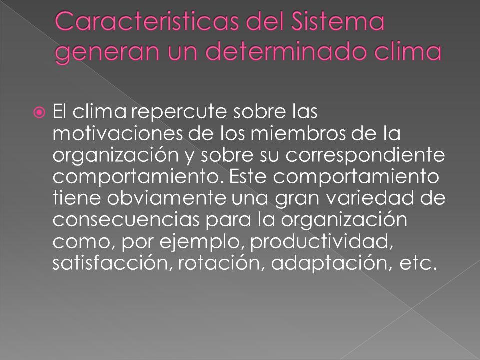 El clima repercute sobre las motivaciones de los miembros de la organización y sobre su correspondiente comportamiento. Este comportamiento tiene obvi