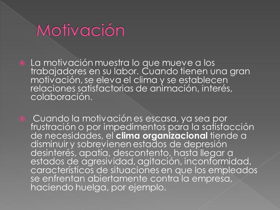 La motivación muestra lo que mueve a los trabajadores en su labor. Cuando tienen una gran motivación, se eleva el clima y se establecen relaciones sat