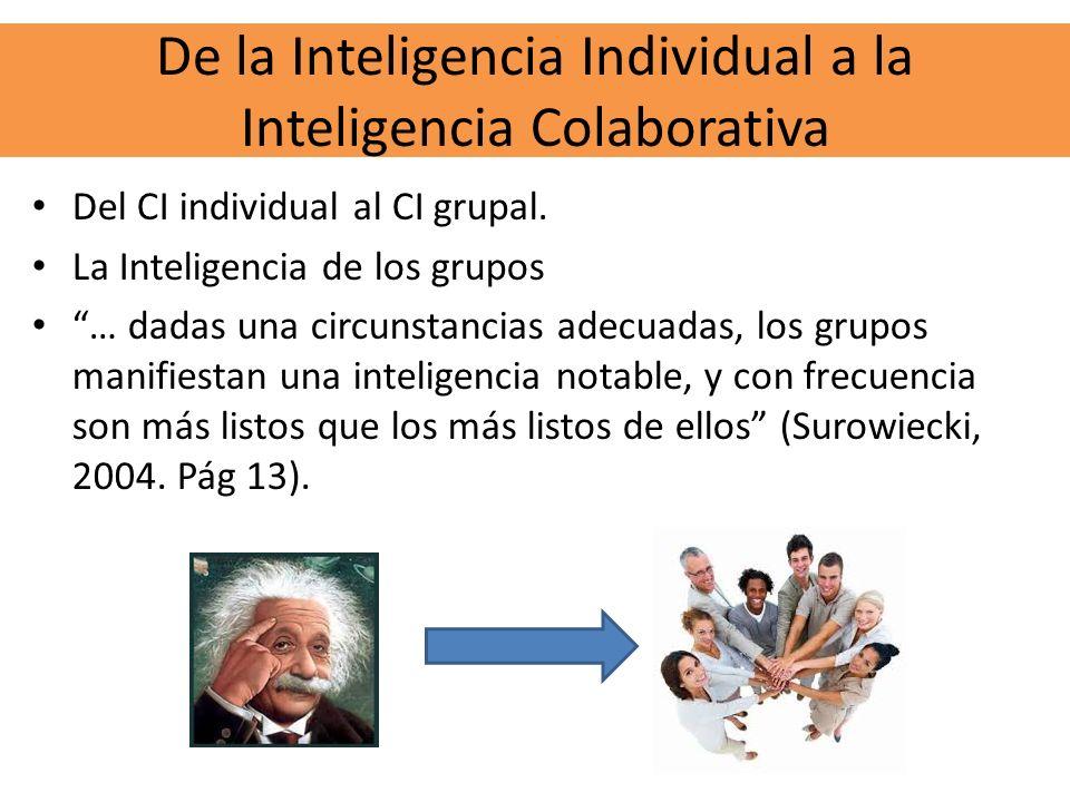 De la Inteligencia Individual a la Inteligencia Colaborativa Del CI individual al CI grupal. La Inteligencia de los grupos … dadas una circunstancias