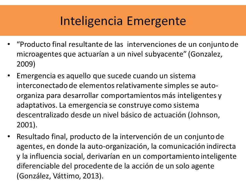 Producto final resultante de las intervenciones de un conjunto de microagentes que actuarían a un nivel subyacente (Gonzalez, 2009) Emergencia es aque