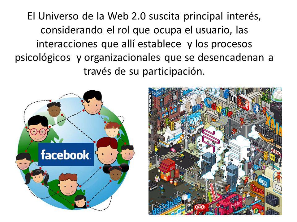 El Universo de la Web 2.0 suscita principal interés, considerando el rol que ocupa el usuario, las interacciones que allí establece y los procesos psi