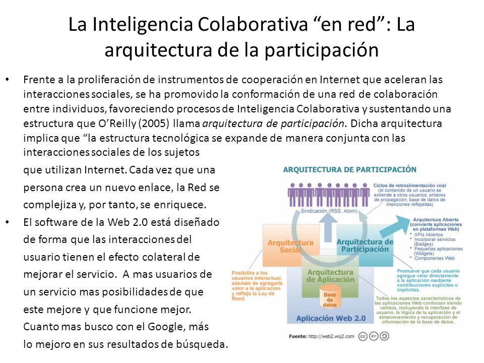 La Inteligencia Colaborativa en red: La arquitectura de la participación Frente a la proliferación de instrumentos de cooperación en Internet que acel