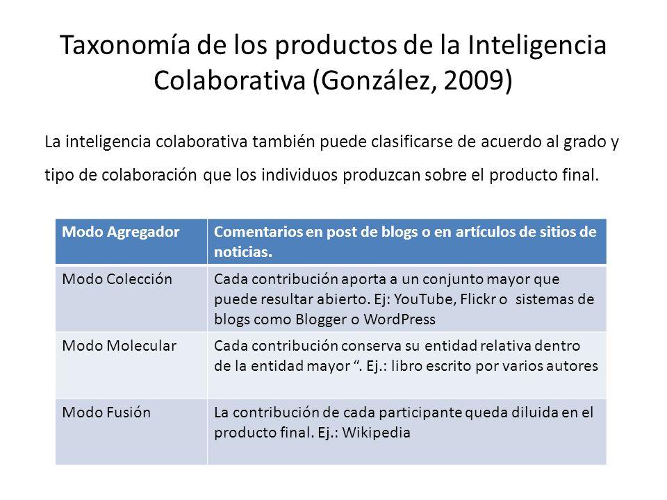 Taxonomía de los productos de la Inteligencia Colaborativa (González, 2009) La inteligencia colaborativa también puede clasificarse de acuerdo al grad