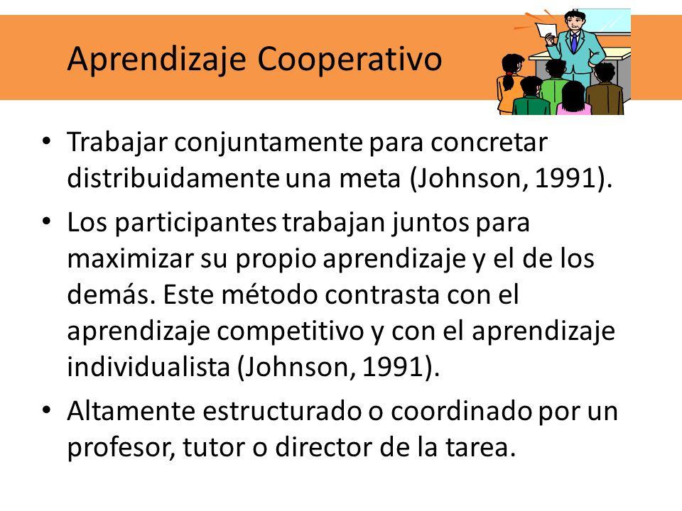 Trabajar conjuntamente para concretar distribuidamente una meta (Johnson, 1991). Los participantes trabajan juntos para maximizar su propio aprendizaj