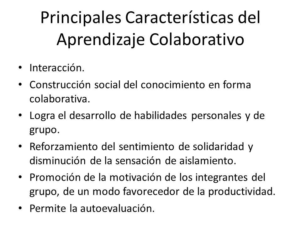 Principales Características del Aprendizaje Colaborativo Interacción. Construcción social del conocimiento en forma colaborativa. Logra el desarrollo