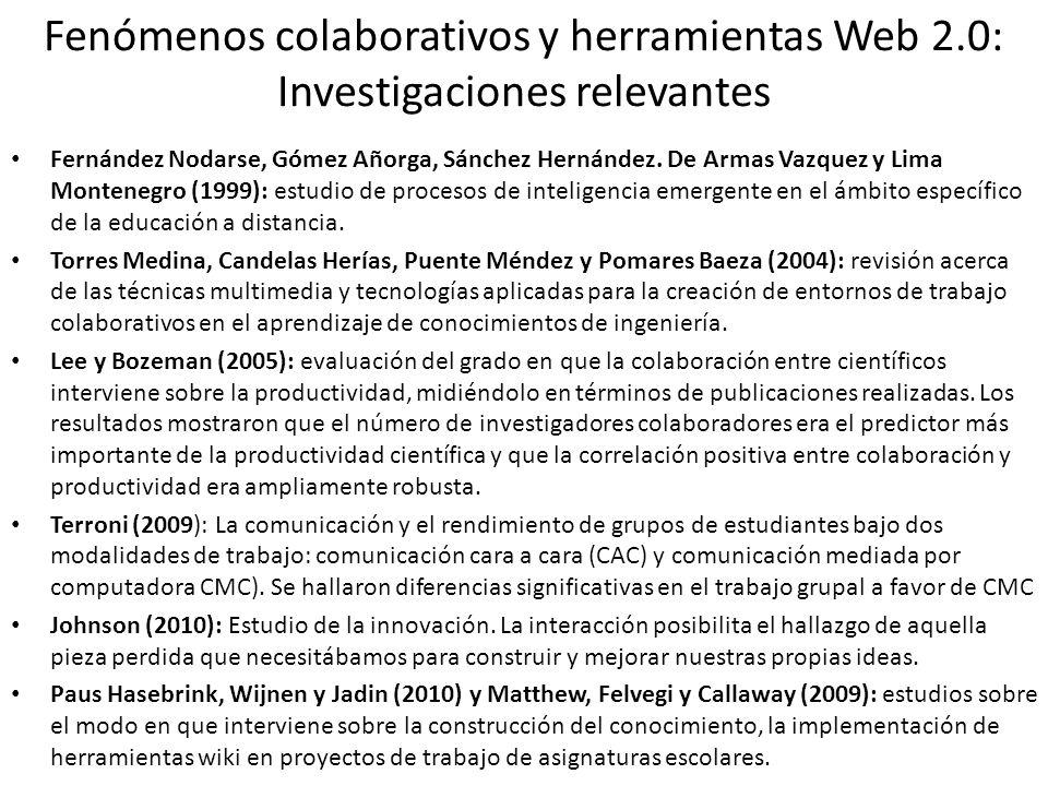 Fenómenos colaborativos y herramientas Web 2.0: Investigaciones relevantes Fernández Nodarse, Gómez Añorga, Sánchez Hernández. De Armas Vazquez y Lima