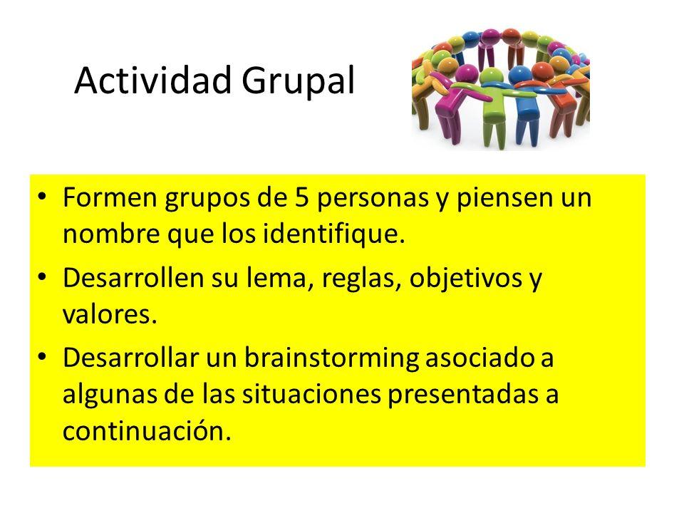 Actividad Grupal Formen grupos de 5 personas y piensen un nombre que los identifique. Desarrollen su lema, reglas, objetivos y valores. Desarrollar un