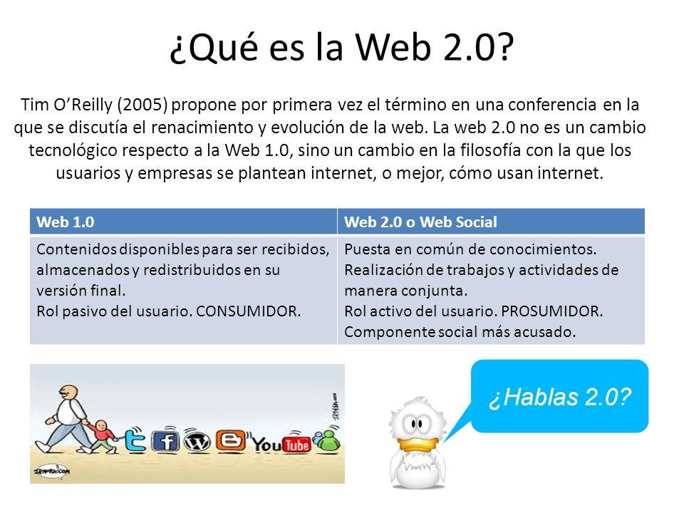 ¿Qué es la Web 2.0? Web 1.0Web 2.0 o Web Social Contenidos disponibles para ser recibidos, almacenados y redistribuidos en su versión final. Rol pasiv