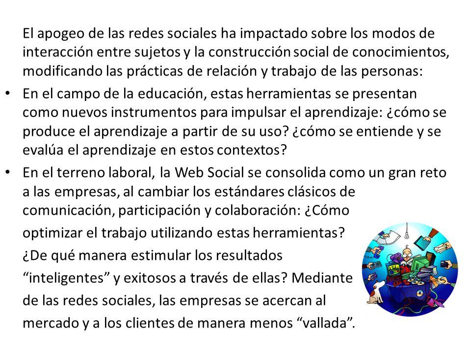 El apogeo de las redes sociales ha impactado sobre los modos de interacción entre sujetos y la construcción social de conocimientos, modificando las p
