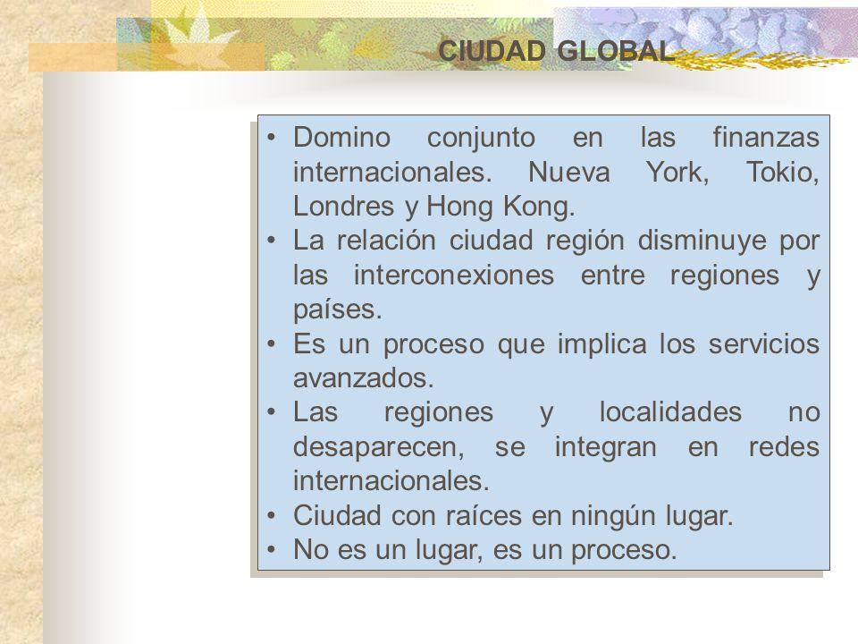 CIUDAD GLOBAL Domino conjunto en las finanzas internacionales. Nueva York, Tokio, Londres y Hong Kong. La relación ciudad región disminuye por las int