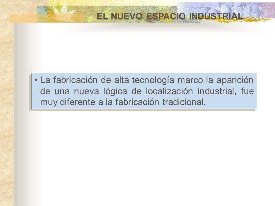 EL NUEVO ESPACIO INDUSTRIAL La fabricación de alta tecnología marco la aparición de una nueva lógica de localización industrial, fue muy diferente a l
