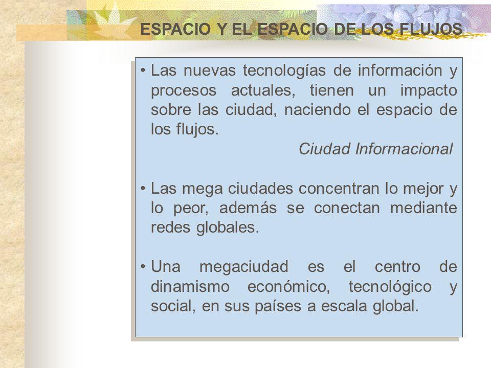 ESPACIO Y EL ESPACIO DE LOS FLUJOS Las nuevas tecnologías de información y procesos actuales, tienen un impacto sobre las ciudad, naciendo el espacio