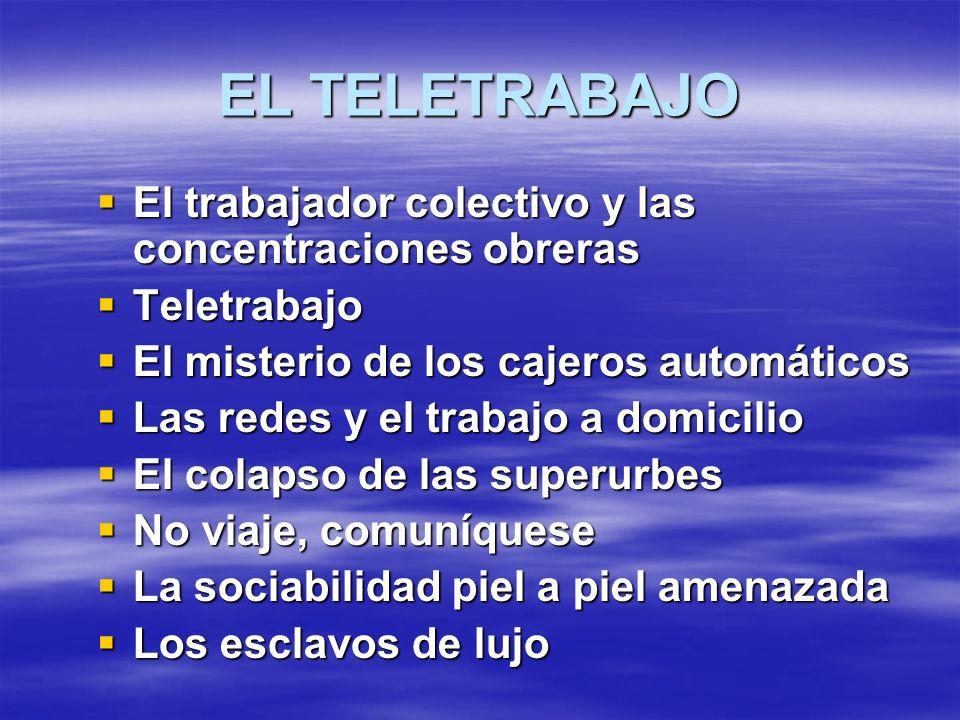 EL TELETRABAJO El trabajador colectivo y las concentraciones obreras El trabajador colectivo y las concentraciones obreras Teletrabajo Teletrabajo El