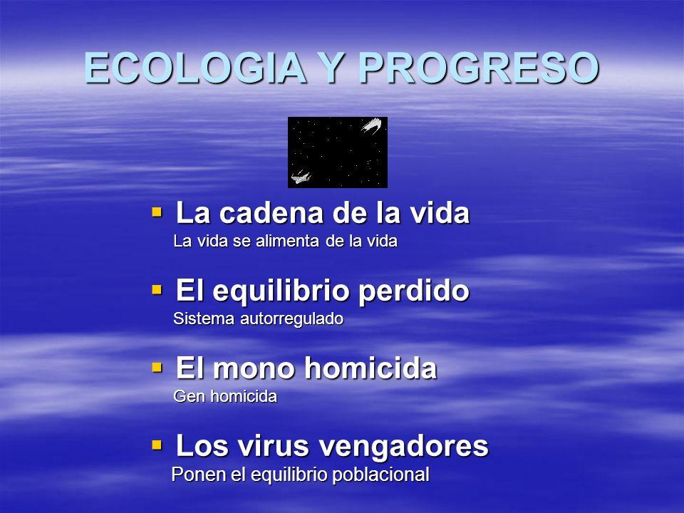 ECOLOGIA Y PROGRESO La cadena de la vida La cadena de la vida La vida se alimenta de la vida La vida se alimenta de la vida El equilibrio perdido El e