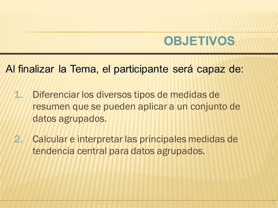 PROMEDIOS MEDIDAS DE TENDENCIA CENTRAL PARA DATOS AGRUPADOS.